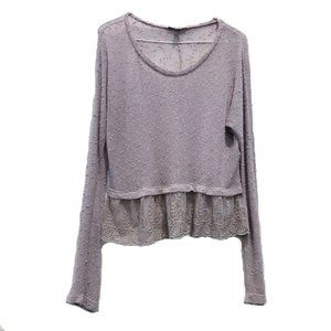 American Eagle Lavender Lace Long Sleeve Top S